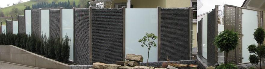 martino design sichtschutz edelstahl gabionen palisaden metallbau z une gartengestaltung. Black Bedroom Furniture Sets. Home Design Ideas